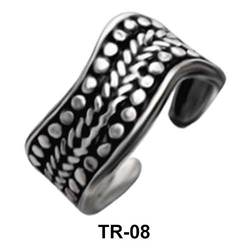 Toe Ring Wavy with Dots TR-08