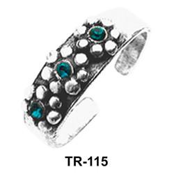 Three stoned Silver Toe Ring TR-115
