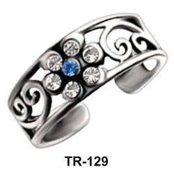 Toe Ring Flower Shaped with Stones TR-129