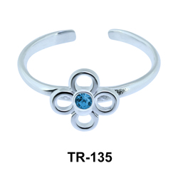 Toe Ring Flower Shaped with Stone TR-135