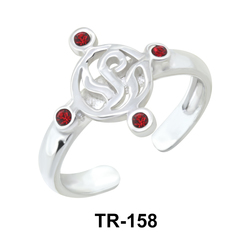Toe Ring with Grassy Design and Rhinestones TR-158