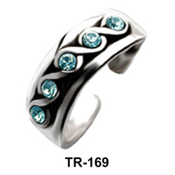 Toe Ring with Wavy Design and Rhinestone TR-169