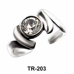 Bezel Set Silver Toe Ring TR-203