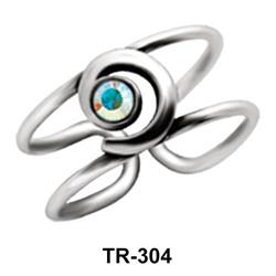 Swirly Rhinestone Toe Ring TR-304