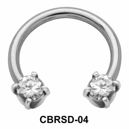 Shiny CZ Nipple Circular Barbell CBRSD-04