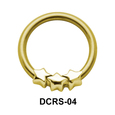 Triple Stars Nipple Piercing Closure Ring DCRS-04