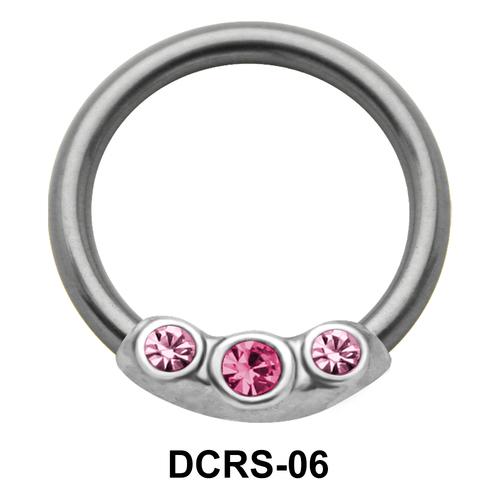 Triple Stones Nipple Piercing Closure Ring DCRS-06