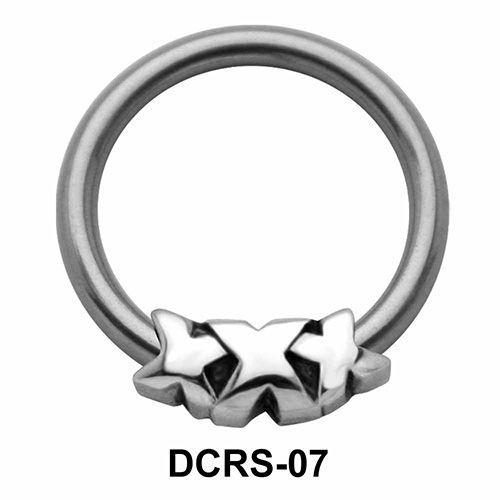 Triple X Shaped Nipple Piercing Closure Ring DCRS-07