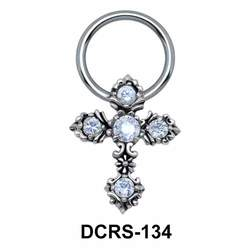 Multistone Cross Nipple Piercing Closure Ring DCRS-134