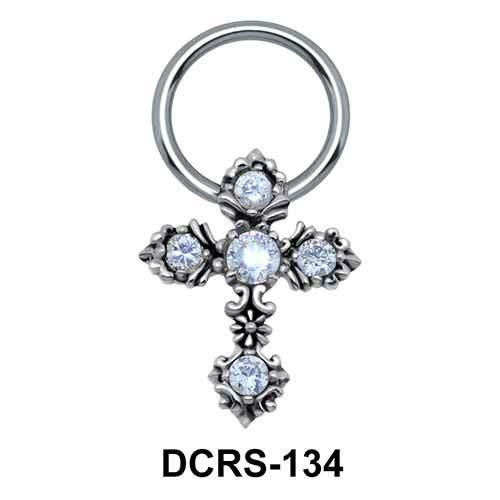Multistone Cross Nipple Piercing Closure Ring DCRS-134