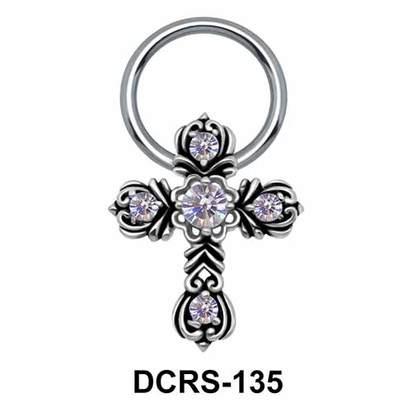 Floral Cross Nipple Piercing Closure Ring DCRS-135
