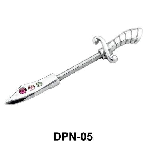 Dagger Shaped Double Nipple Piercing DPN-05
