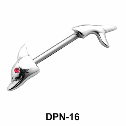 Dolphin Shaped Double Nipple Piercing DPN-16