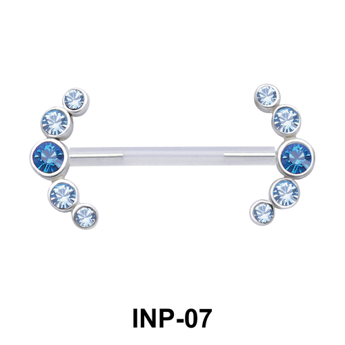 Splendid Curved Stone Invisible Nipple Piercing INP-07