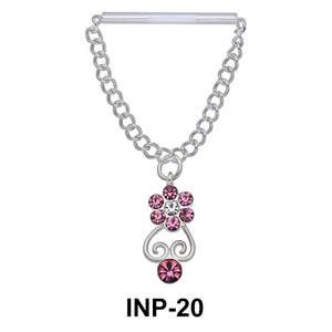 Stone Set Flower Dangling Nipple Piercing INP-20