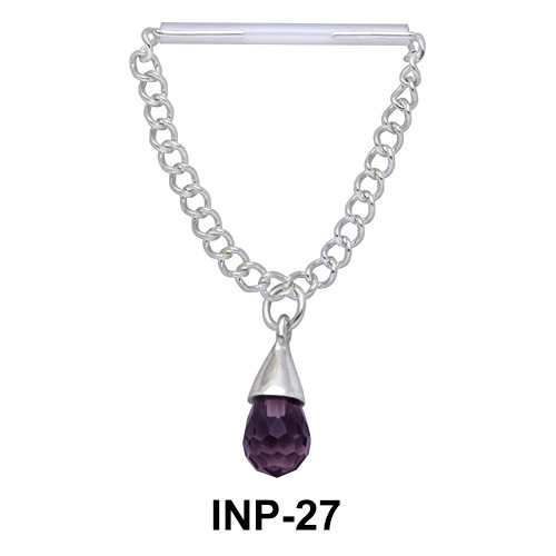 Dangling Stone Invisible Nipple Piercing INP-27