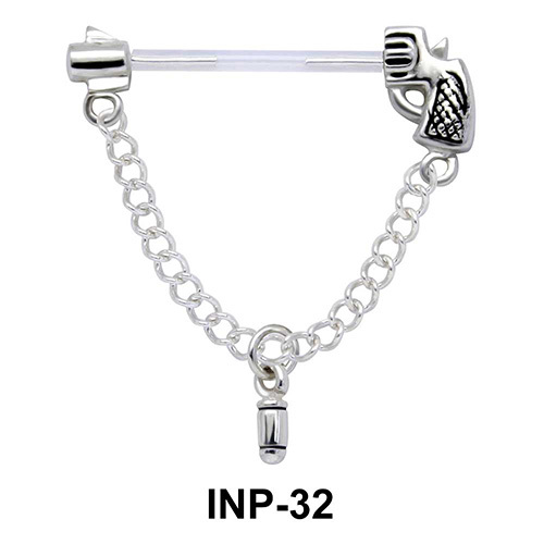 Gun with Dangling Bullet Invisible Nipple Piercing INP-32