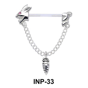 Rabbit and Carrot Invisible Nipple Piercing INP-33