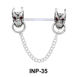 Dual Dragon Head Invisible Nipple Piercing INP-35