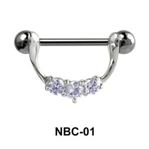 Stone Set Necklace Nipple Piercing NBC-01