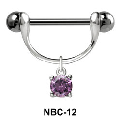 Nipple Piercing with Round Cut CZ NBC-12