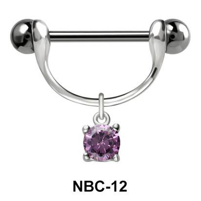 Nipple Piercing with Round Cut CZ NBC-12
