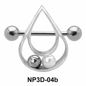 Pearly Drop Nipple Piercing NP3D-04b