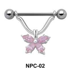 Butterfly Stone Nipple Piercing NPC-02