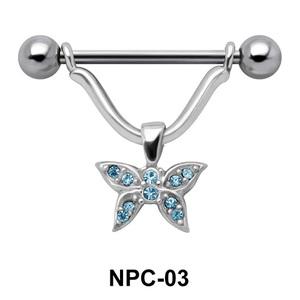 Sparkling Butterfly Nipple Piercing NPC-03