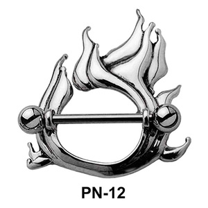 Flame Shaped Nipple Piercing PN-12