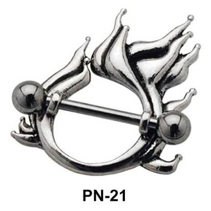 Fire Shaped Nipple Piercing PN-21