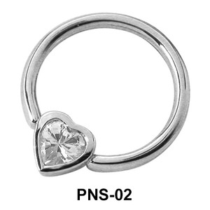 Heart CZ Nipple Piercing Closure Ring PNS-02