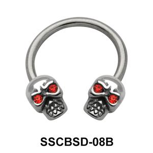 Head Skull Nipple Circular Barbell SSCBSD-08B