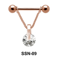 Suspended Stone Nipple Piercing with Chain SSN-09