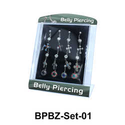 12 Belly Piercing Set BPBZ-Set-01