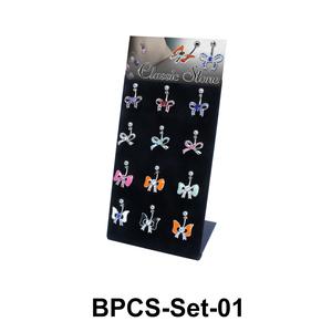 12 Bow Belly Piercing Set BPCS-Set-01
