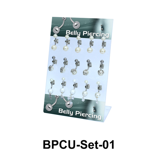 15 Pearls Belly Piercing Set BPCU-Set-01