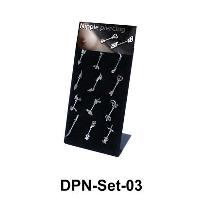 12 Double Nipple Piercing Set DPN-Set-03