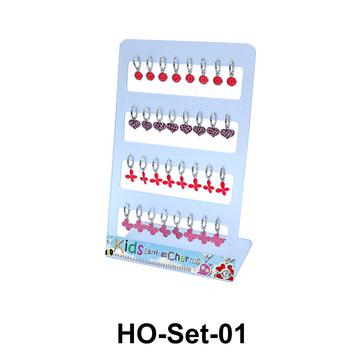 16 Silver Hoop Earrings Set HO-Set-01