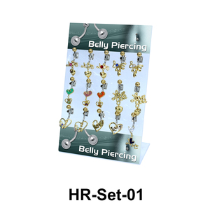 15 Hearts & Love Belly Piercing Set HR-Set-01