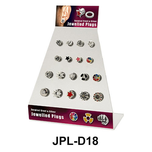 Empty 18 Holes Jewelled Plugs Display JPL-D18