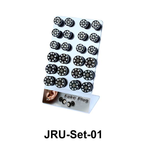 24 Black Fake Plugs Set JRU-Set-01