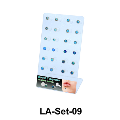 24 Opal and Turquise Labret Push-in Set LA-Set-09