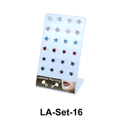 24 CZ Star Labret Push-in Set LA-Set-16