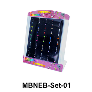 25 Enamel Balls Eyebrow Piercing Set MBNEB-Set-01