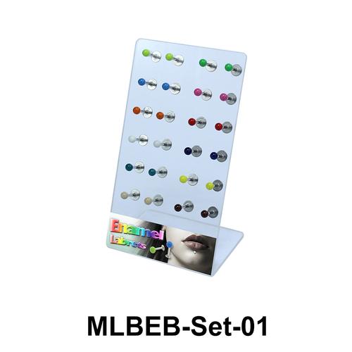 24 Enamel Balls Labret Piercing Set MLBEB-Set-01