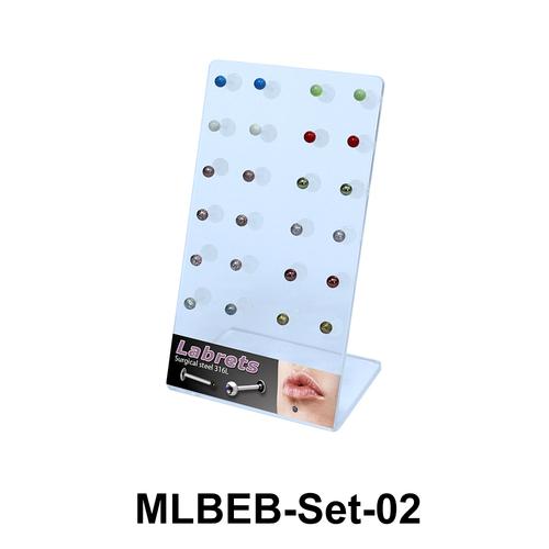 24 Enamel Balls Labret Piercing Set MLBEB-Set-02