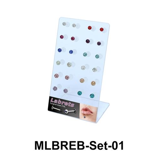 24 Rainbow Balls Labret Piercing Set MLBREB-Set-01