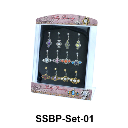 12 Belly Piercing Set SSBP-Set-01