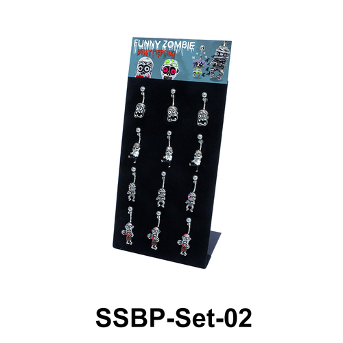 12 Funny Zombie Belly Piercing Set SSBP-Set-02